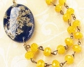 Real Flower Jewelry Real Flower Necklace Navy Blue Pressed Flower Jewelry Yellow Statement Necklace Pendant Necklace