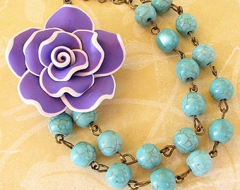 Statement Necklace Flower Necklace Turquoise Jewelry Multi Strand Purple Necklace Bridesmaid Jewelry Gift For Her