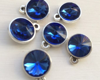 4 pc -  Royal Blue Faceted glass crystle Rivoli pendant charm - silver plated bezel