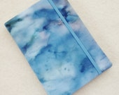 Batik Covered Pocket Memo Book, BLUE MARBLE , Refillable Mini Composition Notebook Cover in Blue and Green Handpainted Batik