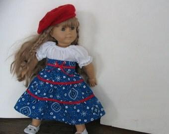 American Hoe Down  tierd skirt, peasant blouse and belt for American Girl