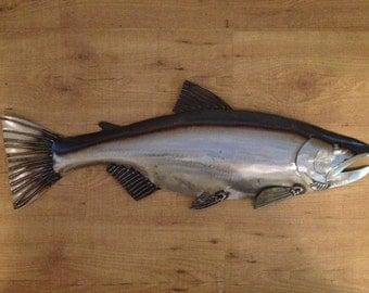 Salmon Metal Fish Wall Art Sculpture Lodge Cottage Cabin Lake River