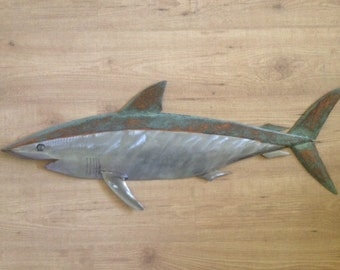 Shark Metal Fish Wall sculpture 36in long Beach Coastal Tropical Art