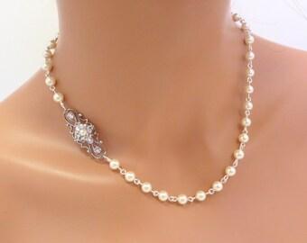 Bridal jewelry, Wedding necklace, Pearl Bridal necklace, Pearl necklace, Vintage style necklace, Rhinestone necklace, Swarovski crystal
