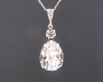 Crystal pendant bridal necklace, Sterling silver necklace with large Swarovski crystals, bridesmaid jewelry, wedding jewelry
