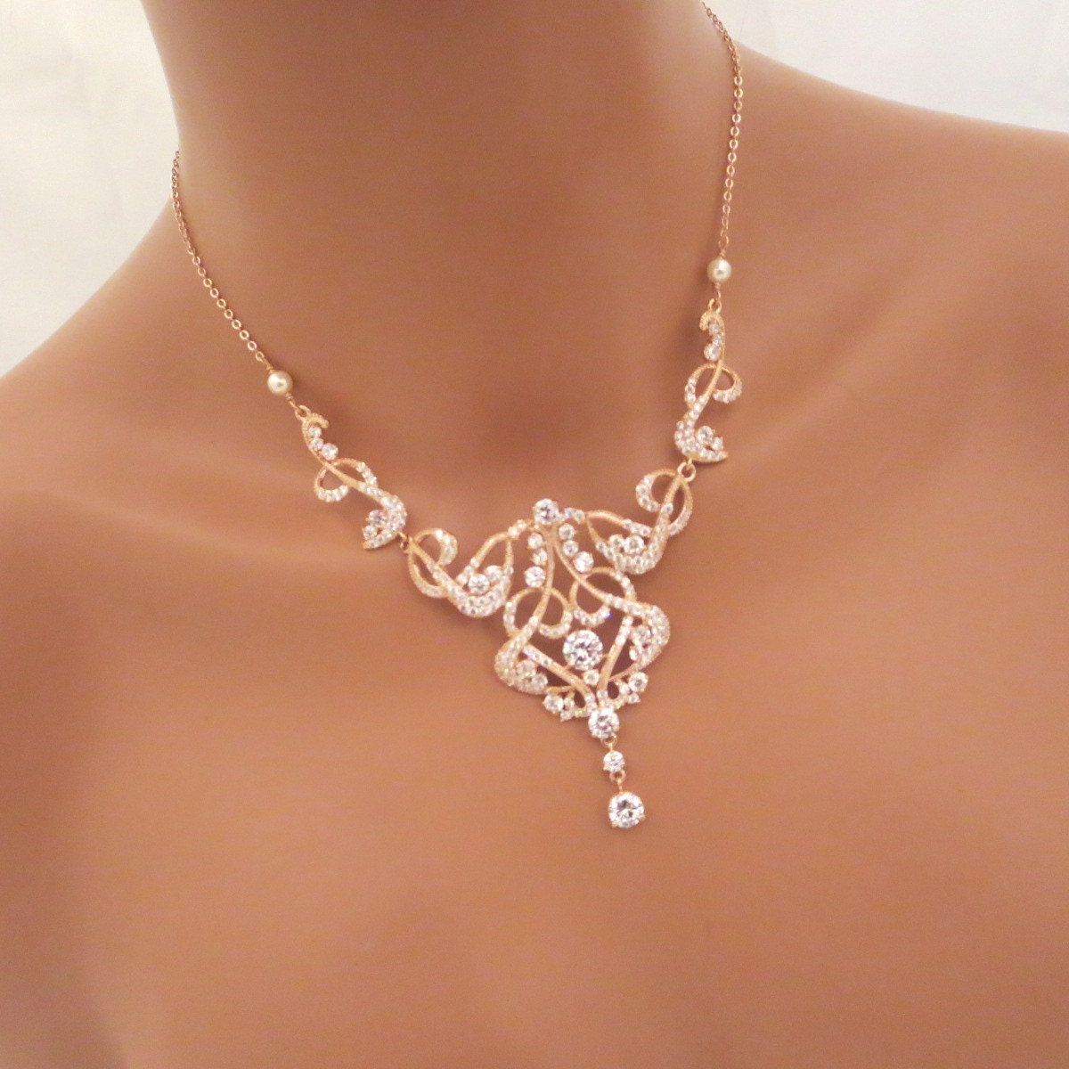Rose Gold Bridal necklace Rose Gold Statement by treasures570