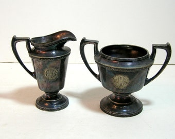 Vintage Silver Plate Monogrammed Sugar And Creamer, Trophy Style