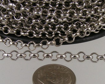 Rhodium Plated Rolo Chain bulk, 5 ft of Antique Silver Rolo Cable Chain 4.7mm - Unsoldered Links - Necklace Bracelet Wholesale Bulk Jewelry
