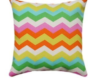 Outdoor Throw Pillow, Decorative Pillow, Chevron Outdoor Pillow, Panama Wave Mimosa Zig Zag Outdoor Throw Pillow - Free Shipping