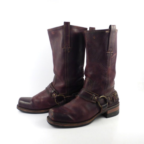frye harness boots vintage 1980s brown leather s size