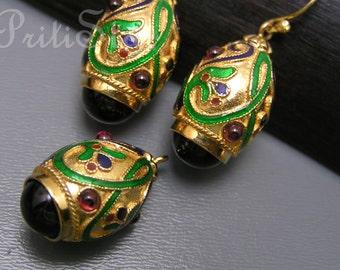 Silver Enamel Earrings . Fob Egg Charm Dangle Gold Gilt Jewelry