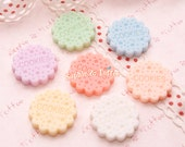 Pastel Dolly Cookies Resin Cabochon / Decoden Pieces / Kawaii Decoden - 7pcs