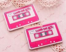 Retro Cassette Tape Laser Cut Acrylic Flatback Cabochon - 3pc