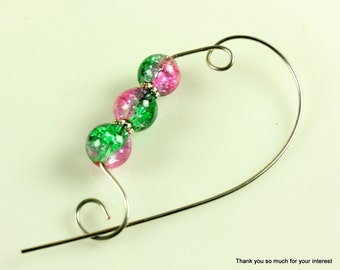 Mardi Gras Beaded Shawl Pin, Scarf Pin, Brooch - Knitting Pin, Jewelry Brooches, Knitting Accessory, Scarf Accessory, Gift for Knitters