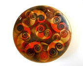 Modernist BOVANO Brown, Orange, Gold Enamel on Copper Dish, Tray, Plate, Spirals, Circles