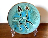 Modernist Abstract Floral Art Pottery Plate, Low Bowl, Blue, Reddish Brown, Black