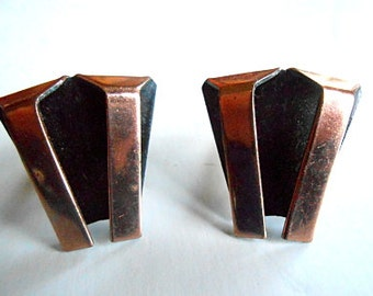 Vintage Modernist RENOIR Copper Art Deco Style Clip Earrings