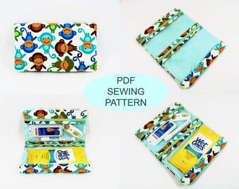 PDF sewing tutorial and pattern, instant download, make your own, diy sewing, first aid pouch, makeup bag, medicine organizer, fold over bag