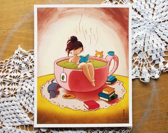 Tea Bath - cozy relaxing tea book cat girl print