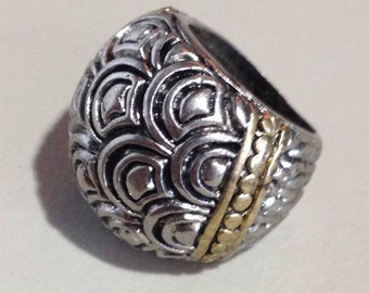1980s NY Designer Layered Fan Silver Size 8 Ring