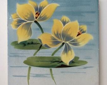 Art Nouveau TileLily Pad with Lotus Flower - Saint Amand Nord & Hamage