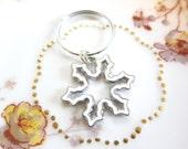 White Enamel Snowflake Charm Key Ring
