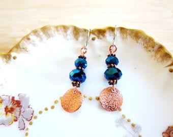 Copper Cobalt Glass Beaded Drop Earrings