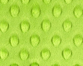 Lime Green Minky Dot Cuddle Fabric by the yard - SALE