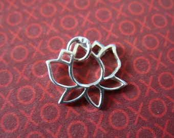 1 5 10 25 pc, Sterling Silver LOTUS Charms Pendants, Lotus Flower Blossom Outline, 11x11.5 mm, yoga art sl solo