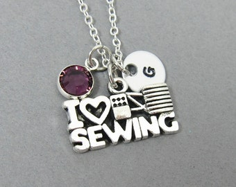 I Love Sewing Necklace - Handstamped Initial, Personalized Name, Customized Swarovski crystal birthstone