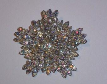 Vintage Aurora Borealis Rhinestone Brooch or Pin