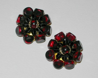 Vintage Black and deep Red Clip On Earrings