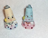 Vintage Toothpaste Tube Girls Anthropomorphic PY Salt and Pepper Shakers 1950s Napco Pink Blue CUTE and RARE