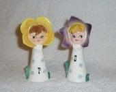Vintage Pixieware Flower Girl Salt Pepper Shakers Lipper & Mann Holt Howard Anthropomorphic