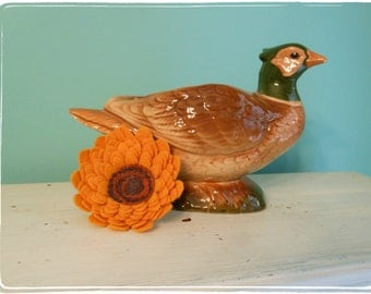 Vintage Pheasant Planter Hen Thanksgiving Centerpiece Table Decor Succulent Ceramic Dish
