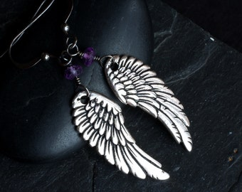 Angel Wing Earrings, Amethyst Earrings on Oxidized Sterling Silver - Angelic by CircesHouse on Etsy