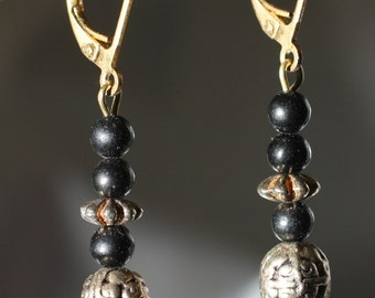 Etched Gold Tone and Black Bead Dangle Earrings