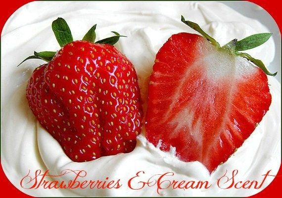 STRAWBERRIES & CREAM  Scented Soy Wax Melts - Flameless Wickless Soy Candle Tarts - Highly Scented - Handmade In USA