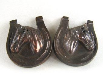 Vintage Copper Horse Salt & Pepper Shakers Japan Horseshoe