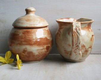 Handcrafted Rustic Sugar Bowl and Pitcher Wheel Thrown Stoneware Pottery Cream and Rust Glazed Made in USA