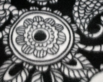 Black and White Floral Fleece Fabric 1 yard x 62 inches