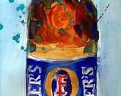 Foster's Beer Art Print - Watercolor Print  - Original - College Dorm - Man Cave - Austrailian Beer