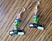 Seattle Seahawks Earrings! Green & Blue Dangle