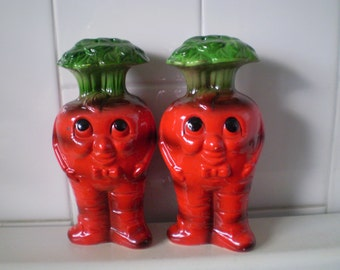 Vintage Anthropomorphic RADISHES Salt and Pepper Shakers