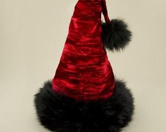 Vixen Ruby Velvet Santa Hat, Reversible