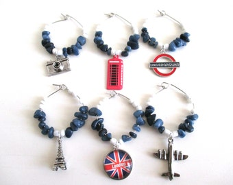 United Kingdom, British Wine Charms, Quartz Wine Charms, UK Wine Charms, Travel wine charms, wine glass charms