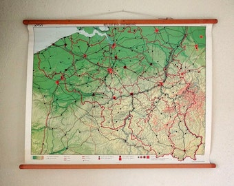 vintage wall chart, Dutch educational poster with map of Belgium and Luxembourg