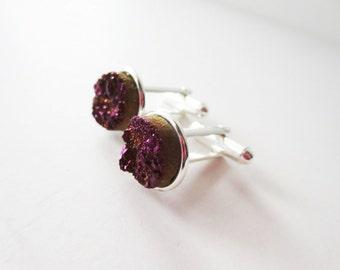 Purple cuff links. Eggplant druzy cuff links. Titanium druzy.  Aubergine drusy.  Purple druzy.  French cuff shirt. Iridescent druzy.