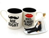 Mr and Mrs mug set, mustache and lips mugs, Mr Right and Mrs Always Right, can be personalized, great wedding gift for couple