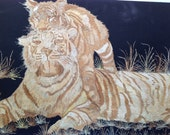Tiger and cub. Handmade with rice straw. Great gift for a cat lover. Have you seen ancient leaf art?